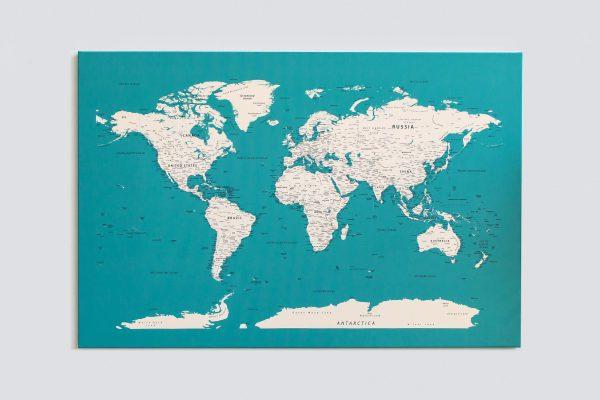 Dangiškas, detalus pasaulio žemėlapis ant sienos