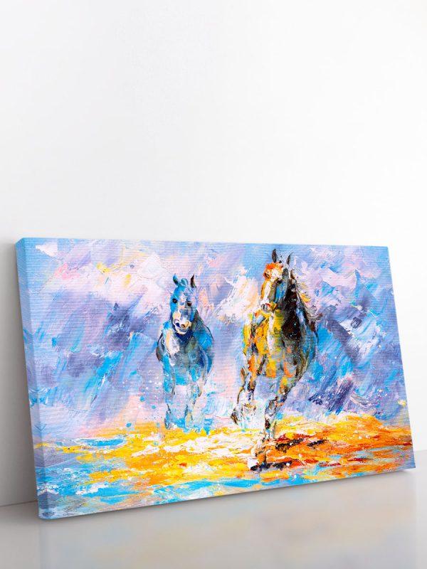 drobė du žirgai