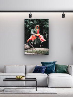 drobė flamingų meilė