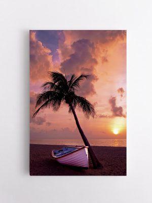 drobė valtis saulėlydyje