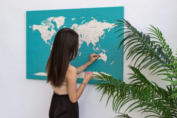 Dangiškas, detalus pasaulio žemėlapis iš toli