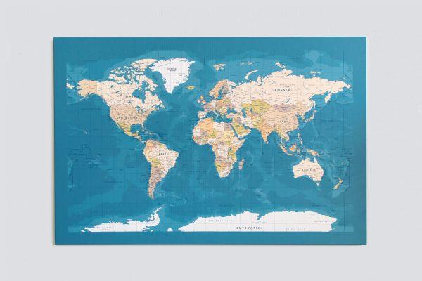 Mėlynas, detalus pasaulio žemėlapis