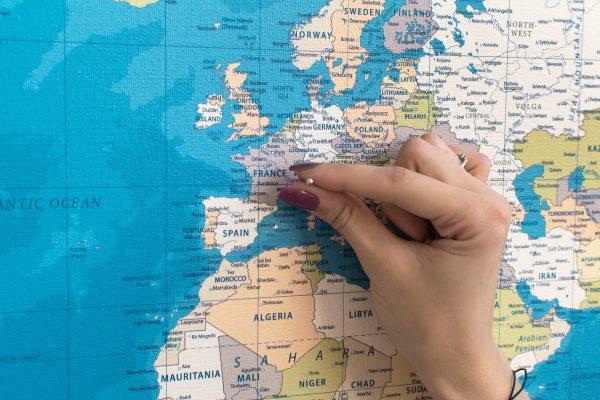 Mėlynas, detalus pasaulio žemėlapis iš arti