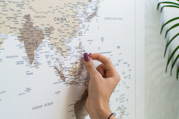 Rudas, detalus pasaulio žemėlapis iš arti