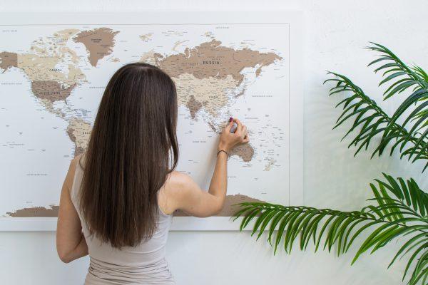 Rudas, detalus pasaulio žemėlapis iš toli