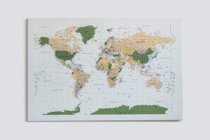 Žalias, detalus pasaulio žemėlapis ant sienos