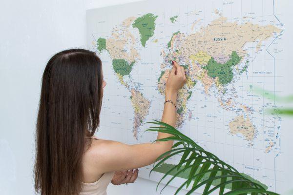Pasaulio žemėlapis su smeigtukais (žalias, detalus) 1